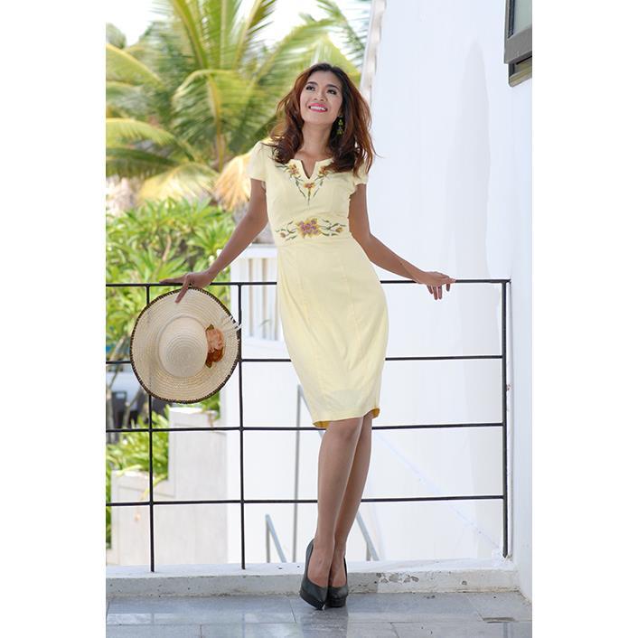 Đầm Linen Thêu Hoa DRCT0122C-05