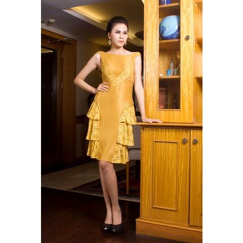 Đầm Cocktail Cao Cấp Sensorial DRCK0023-05 - Màu Vàng