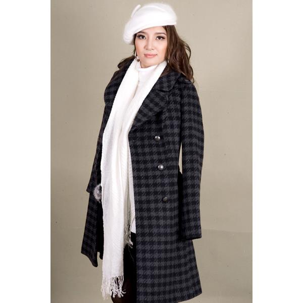 Áo khoác nữ Sensorial nẹp vai sọc caro đen xám