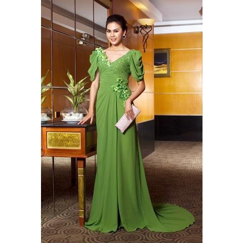 Đầm Dạ Hội Tay Xếp Plis Kết Hoa Sensorial DRP0099-03 - Màu Xanh Lá