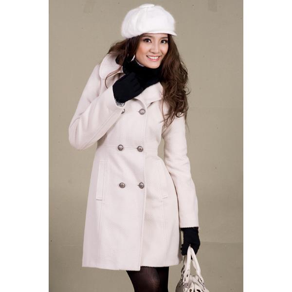 Áo khoác nữ Sensorial kiểu măng tô màu trắng 8 nút