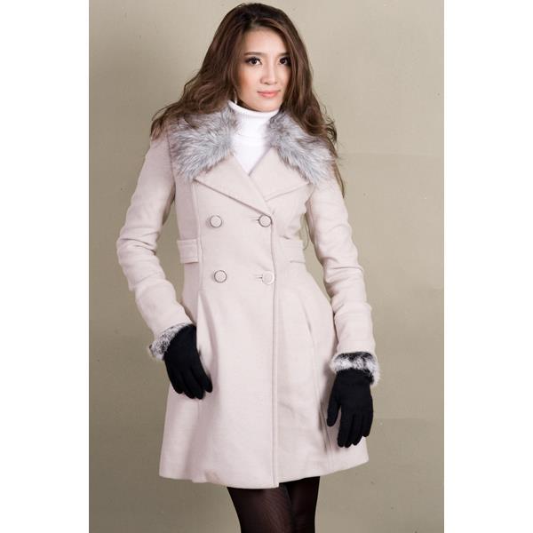 Áo khoác nữ Sensorial cổ lông cừu màu kem CT0034