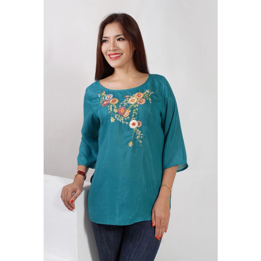 Áo Thêu Hoa Cúc, Cổ Tròn, màu xanh BLAT0026-01
