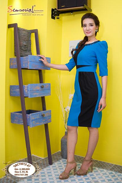 Đầm Công Sở Sensorial DRCT0015-14 màu Xanh & Đen