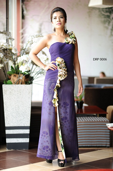 Đầm Dạ Tiệc Lệch Vai Hoa Tím Sensorial DRP0006