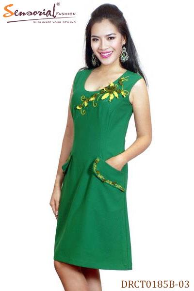Sensorial - Đầm nữ shopping DRCT0185B-03 xanh lá cây