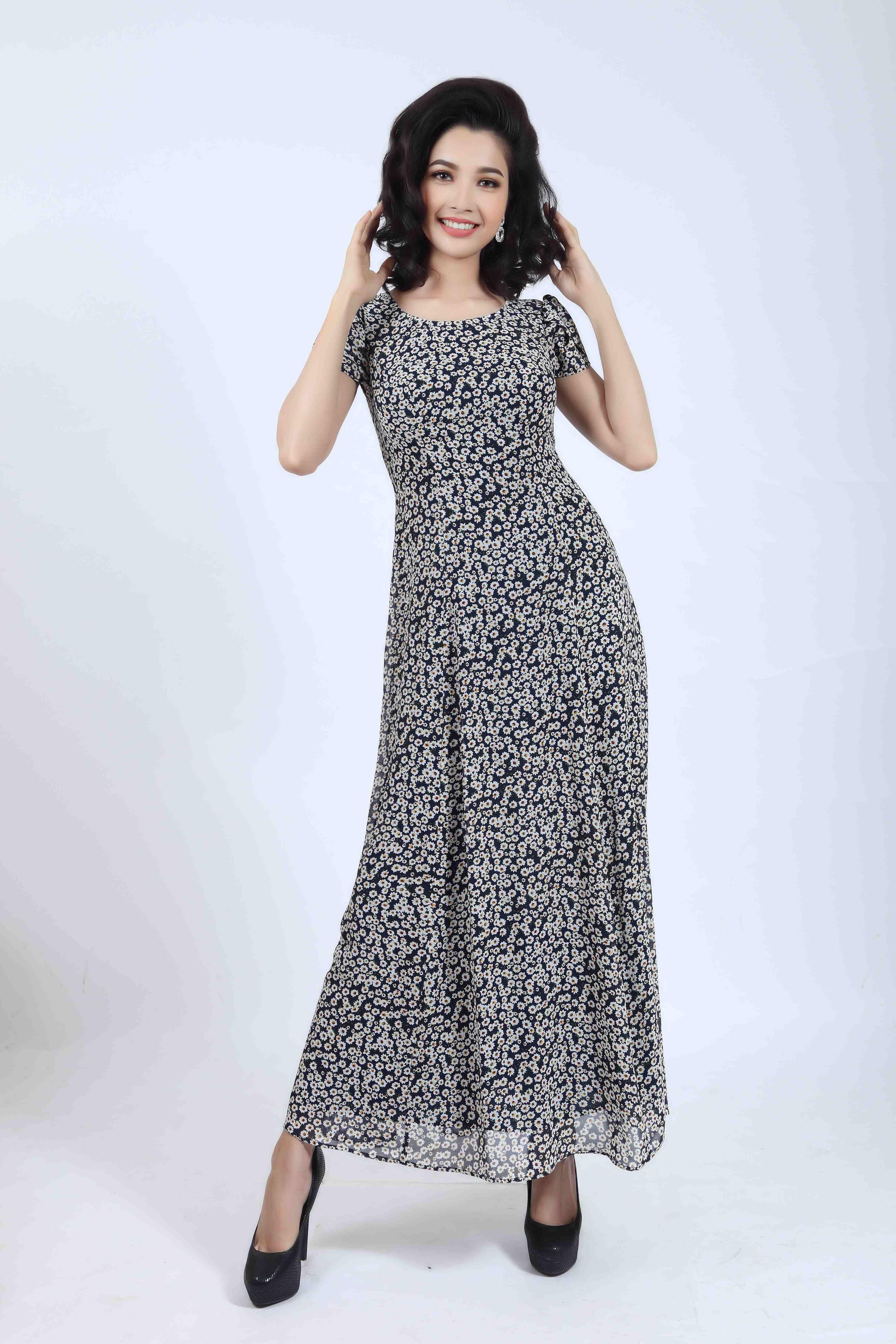 Váy maxi dạo phố nữ trung niên Sensorial DRCT0363-3107