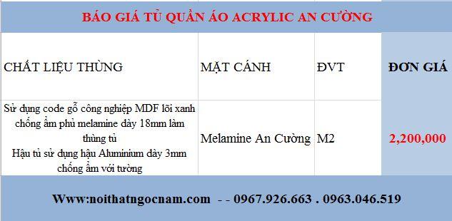 Báo giá tủ quần áo Melaminegiá rẻ nhất Hà Nội hiện nay