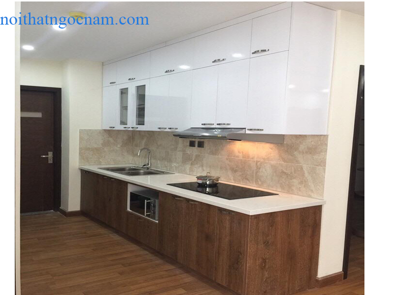 Mẫu tủ bếp Melamine giá rẻ hình chữ I phù hợp với nhiều không gian phòng bếp chật với thiết kế đơn gian nhưng vẫn đảm bảo được đủ công năng sử dụng.