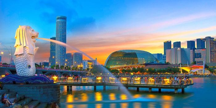 Công viên sư tử biển Merlion nổi tiếng tại Singapore