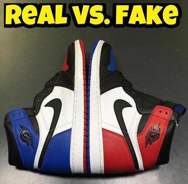 online store 2055f 4cfaf Cách Phân Biệt Giữa Jordan 1 Top 3 FAKE và REAL