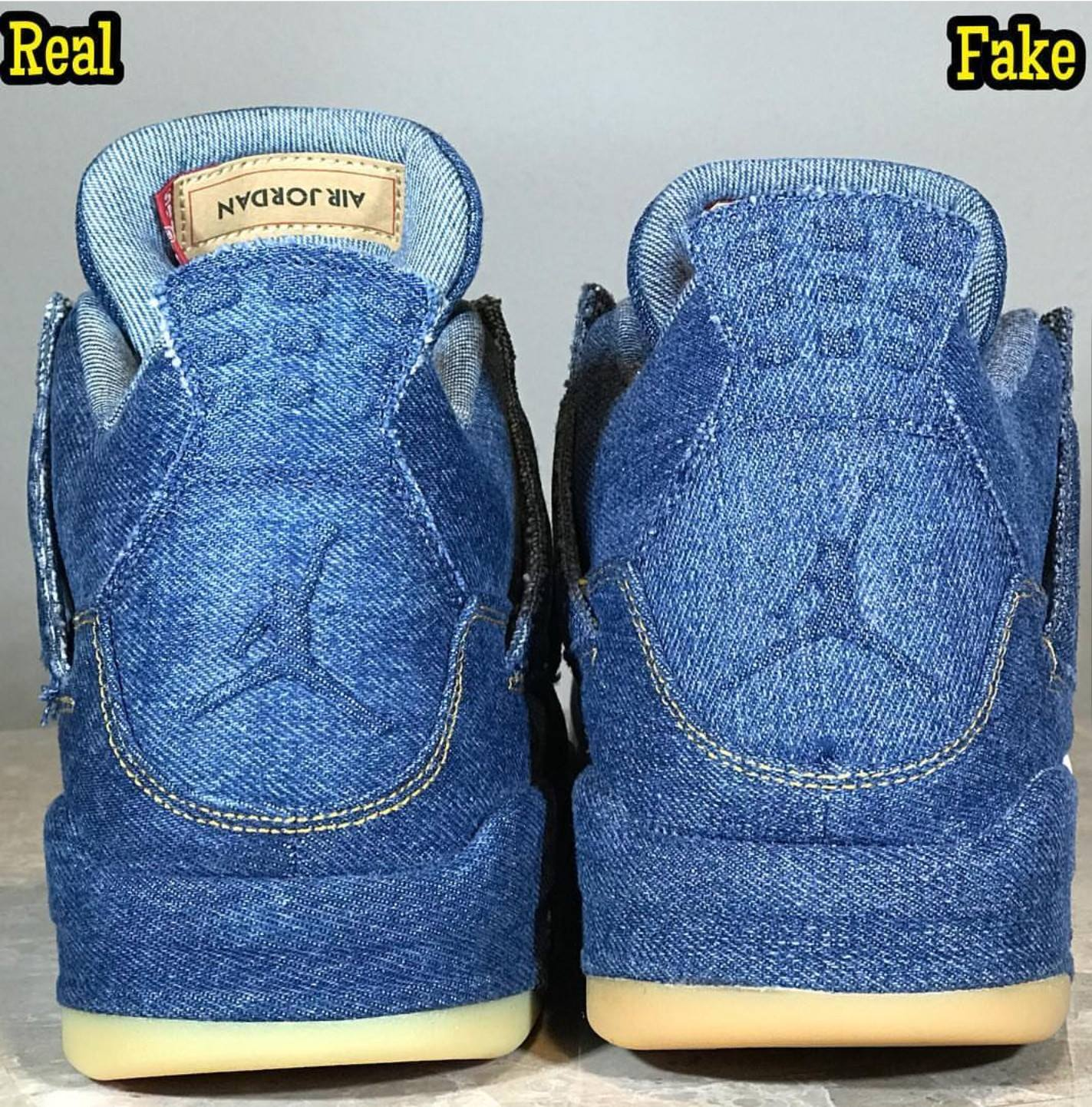 the best attitude 37fa2 12d1f Phân Biệt Air Jordan 4 Levi's Fake Real