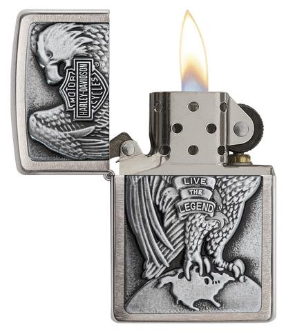 Zippo Made in the USA Eagle and Globe Emblem Brushed Chrome nhập khẩu hoa kì