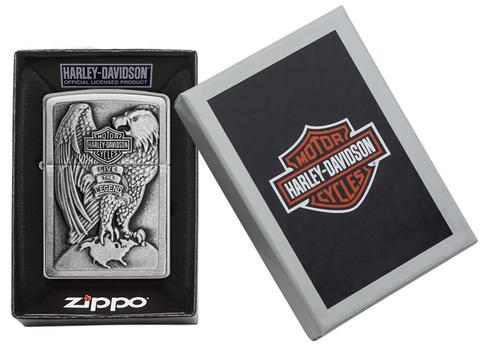 Zippo Made in the USA Eagle and Globe Emblem Brushed Chrome xe máy zippo bật lửa hộp quẻ