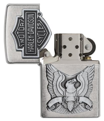 Zippo Made in the USA Emblem Brushed Chrome cao cấp