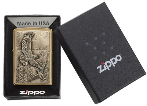 Zippo Where Eagles Dare Brushed Brass đại bàng bay lượn