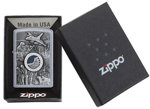 Zippo Joined Forces Emblem Street Chrome uy tín zippostore.vn