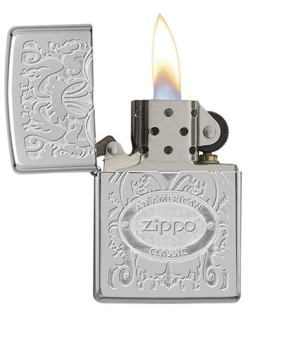 Zippo Gleaming Patina High Polish Chrome khắc cực chất