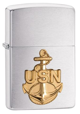 Zippo US Navy Anchor Emblem Brushed Chrome hải quân mỹ