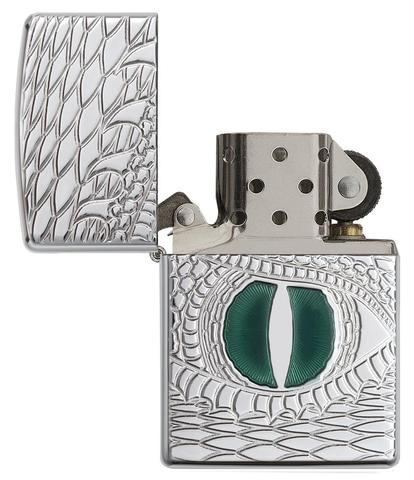 Zippo Armor Dragon Eye Carved High Polish Chrome rồng may mắn châu á