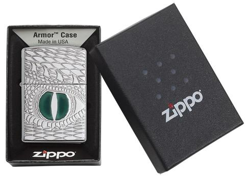 Zippo Armor Dragon Eye Carved High Polish Chrome nhập khẩu usa