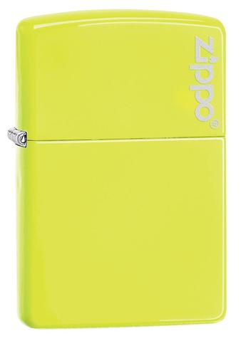 Zippo Plain with Logo Neon Yellow Matte xách tay