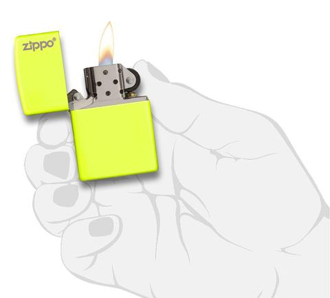 Zippo Plain with Logo Neon Yellow Matte uy tín độc đáo