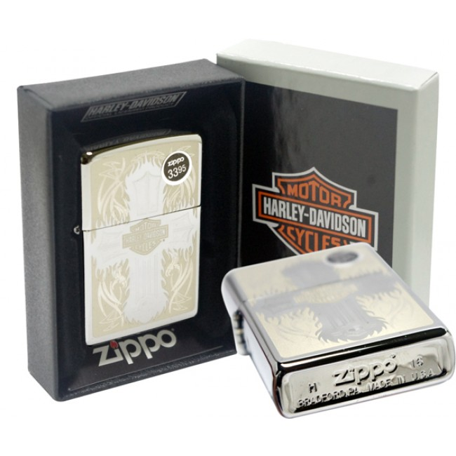 Zippo Harley Davidson Cross Polished Chrome xách tay