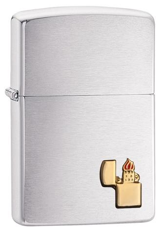 Zippo Lighter Emblem Brushed Chrome cao cấp