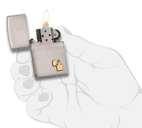 Zippo Lighter Emblem Brushed Chrome đẹp độc lạ