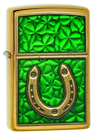 Zippo Clovers And Horseshoe Emblem Brushed Brass xách tay cao cấp