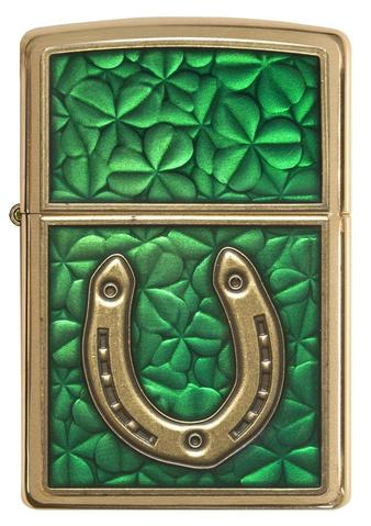 Zippo Clovers And Horseshoe Emblem Brushed Brass quà tặng độc đáo