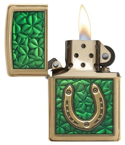 Zippo Clovers And Horseshoe Emblem Brushed Brass may mắn phong thuỷ
