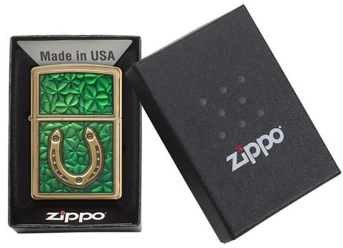 Zippo Clovers And Horseshoe Emblem Brushed Brass món quà ý nghĩa