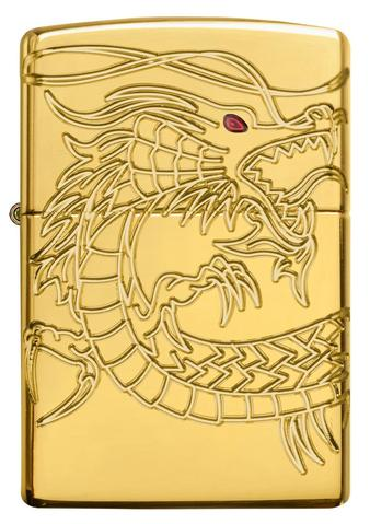 Zippo Red Eyed Dragon 360 Degree Engraving Gold Plate rồng châu á