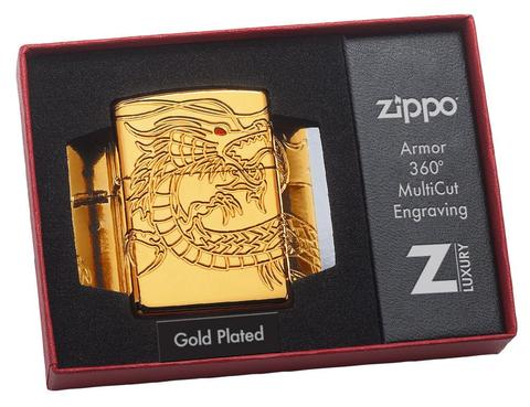 Zippo Red Eyed Dragon 360 Degree Engraving Gold Plate đặc biệt coty