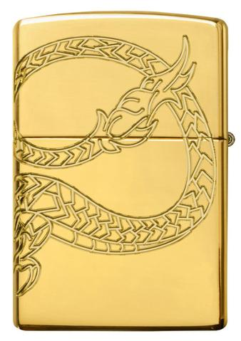 Zippo Red Eyed Dragon 360 Degree Engraving Gold Plate rồng uốn lượng
