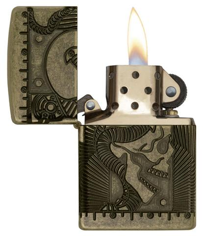 Zippo Steampunk 360 Multicut Antique Brass Armor đầu lâu
