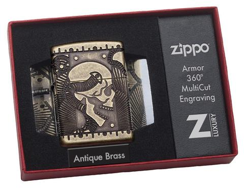 Zippo Steampunk 360 Multicut Antique Brass Armor vỏ dày