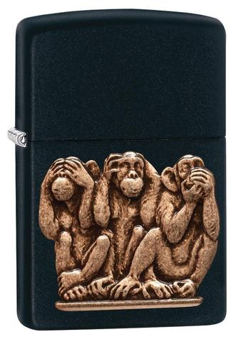 Zippo Three Monkeys Black Matte cao cấp