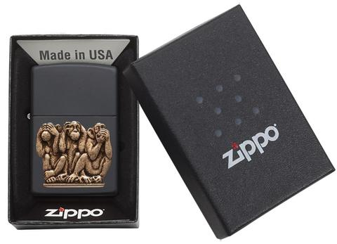 Zippo Three Monkeys Black Matte độc đáo