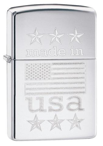 Zippo Made In The USA With Flag Polished Chrome xách tay