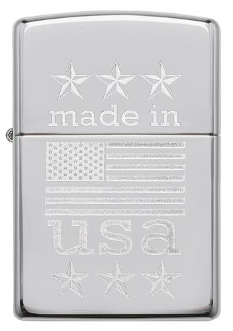 Zippo Made In The USA With Flag Polished Chrome cao cấp độc đáo