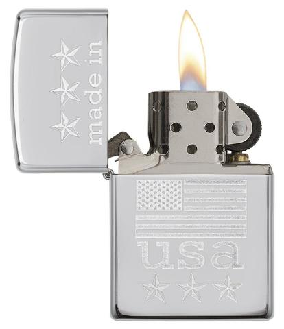 Zippo Made In The USA With Flag Polished Chrome giá rẻ độc đẹp