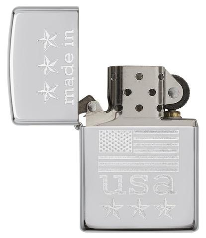 Zippo Made In The USA With Flag Polished Chrome quà tặng người yêu