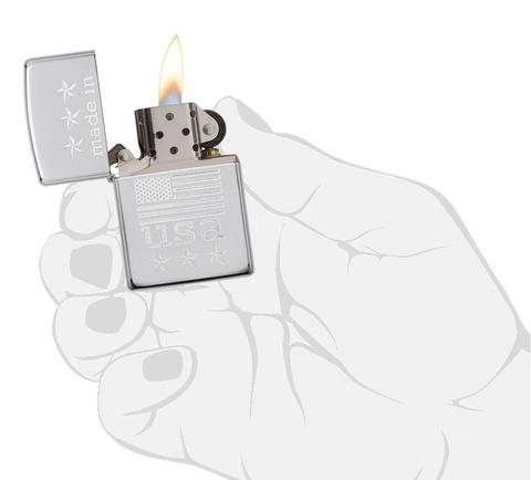 Zippo Made In The USA With Flag Polished Chrome cao cấp chất lượng cao