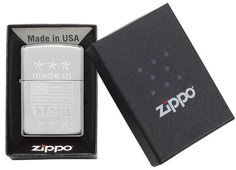 Zippo Made In The USA With Flag Polished Chrome đỉnh cao quà tặng