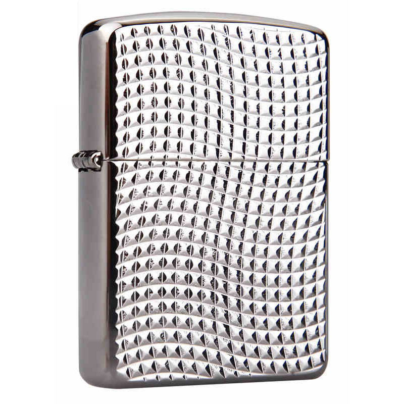 Zippo Cross Wave Ridge Armor High Polish Black Chrome