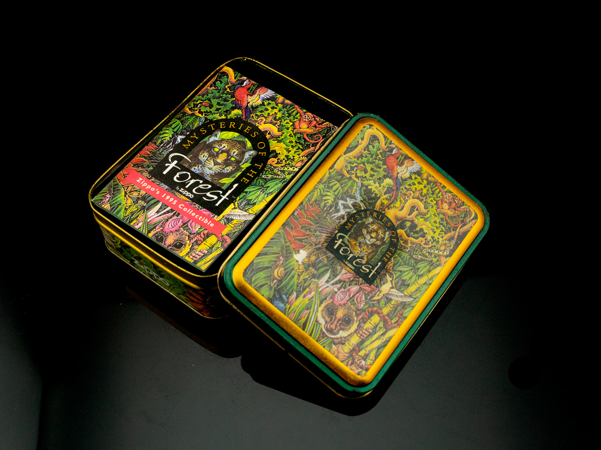 bat-lua-zippo-1995-mysteries-of-the-forest-solid-brass-bi-an-rung-xanh-dong-nguyen-khoi-bong