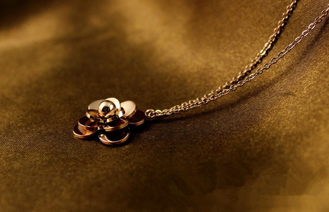 Bộ trang sức nữ titan hoa trà mạ vàng 14k - trang sức titan cao cấp